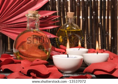 Essential body massage oils and candles