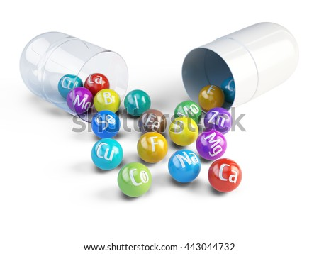 Essential chemical minerals and microelements - healthy diet concept - 3d render - stock photo