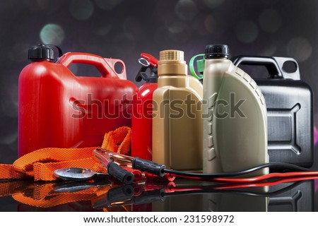 Essential elements in any car. Bulbs, fluids and battery! - stock photo