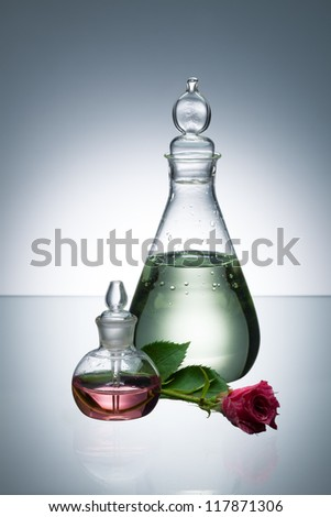 Essential oil and scent in transparent bottles and white flower on gray background with vignetting - stock photo