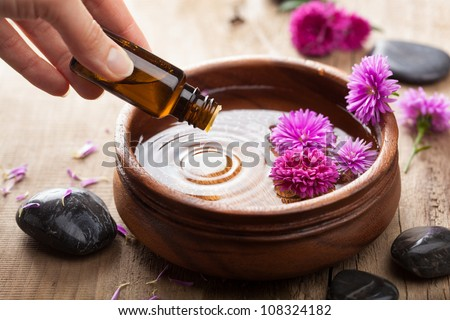 essential oil for aromatherapy - stock photo