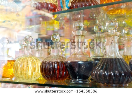 Essential oil in the shop - stock photo