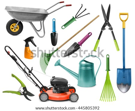 Essential realistic gardening tools colorful set isolated on white - stock photo