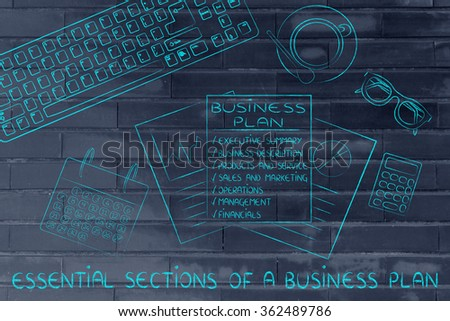 essential sections of a business plan: illustration of an office desk with detailed documents