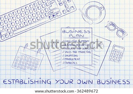 establishing your own business: illustration of an office desk with detailed documents