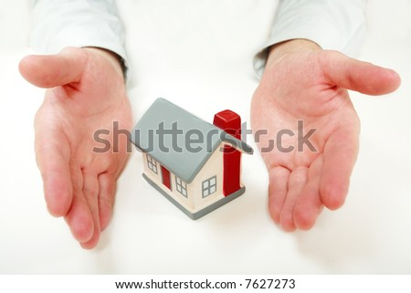 Estate background: house, family, safety - stock photo