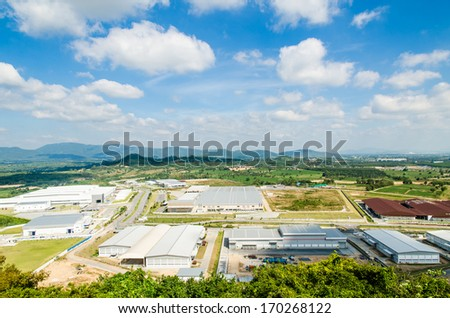 Estates Zone with Blue Sky field. - stock photo