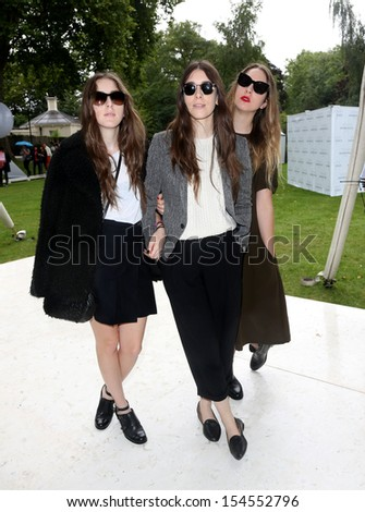 Este Haim, Alana Haim and Danielle Haim at London Fashion Week SS14  - Topshop Unique - Arrivals, London. 15/09/2013