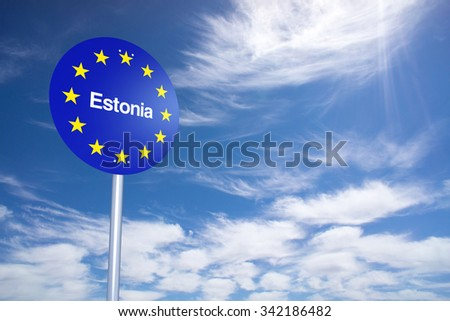 Estonia Border Sign with clouds sky. 3D Rendering - stock photo