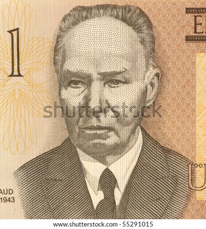 ESTONIA - CIRCA 1992: Kristjan Raud (1865-1943) on 1 Kroon 1992 Banknote from Estonia. Estonian painter and draughtsman.