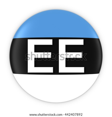 Estonia Flag Button with Two Letter Country ISO Code 3D Illustration - stock photo