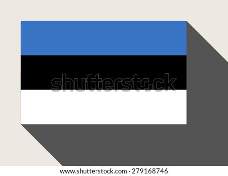 Estonia flag in flat web design style. - stock photo