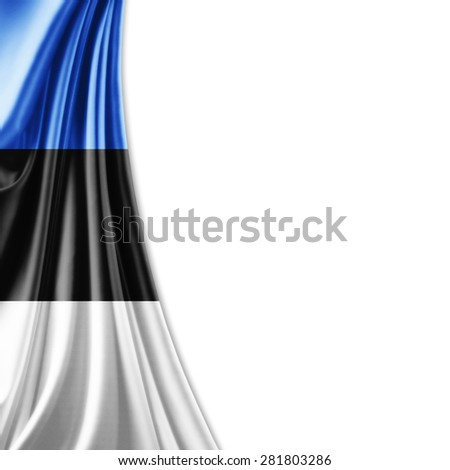 Estonia   flag of silk and white background - stock photo