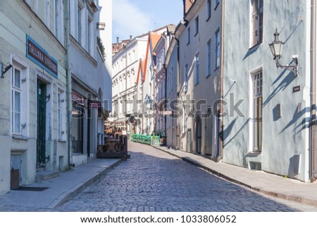 ESTONIA - JULY 22, 2017: Early morning on the Dunkri street, view from Town Hall Square, Tallinn, circa 2017