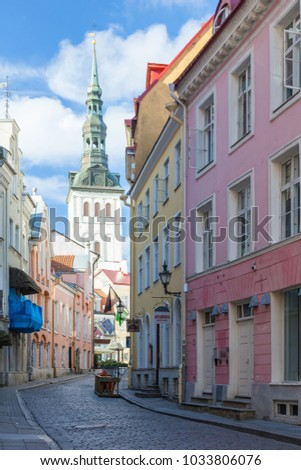 ESTONIA - JULY 22, 2017: Rataskaevu street and spite of St. Nicholas Church in Tallinn, circa 2017