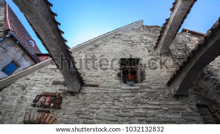ESTONIA - JULY 22, 2017: Stone arches in the lane of Catarina in Old Tallinn, circa 2017