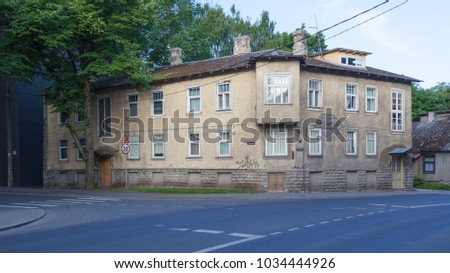 ESTONIA - JULY 22, 2017: Two-storey house in Tallinn, at the intersection of streets Juhkentali and Staadioni, circa 2017