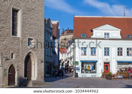 ESTONIA - JULY 22, 2017: View of Dunkri street from Town Hall Square, Tallinn, circa 2017