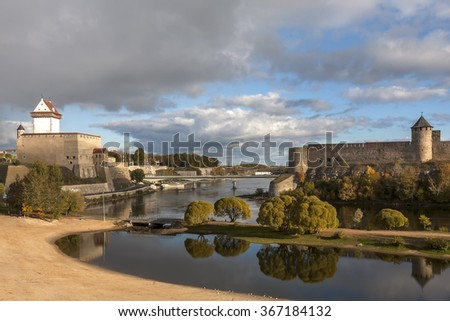 Estonia, Narva, border with Russia - stock photo