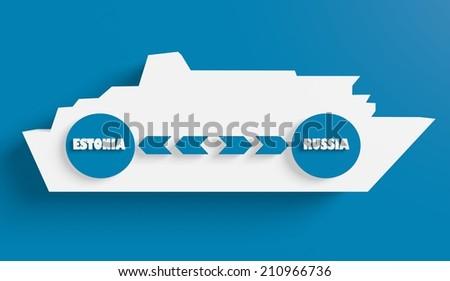 estonia russia ferry boat route info in icons - stock photo
