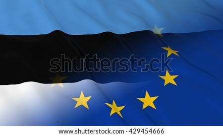 Estonian and European Union Relations Concept - Merged Flags of Estonia and the EU 3D Illustration - stock photo