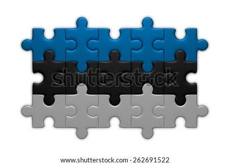 Estonian flag assembled of puzzle pieces isolated on white background