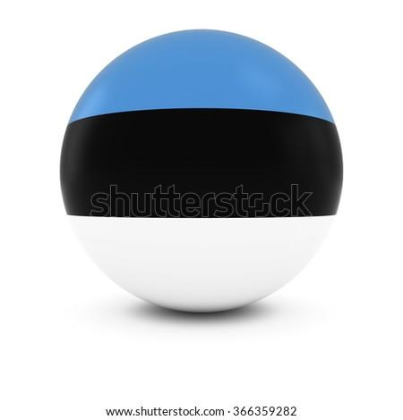 Estonian Flag Ball - Flag of Estonia on Isolated Sphere - stock photo