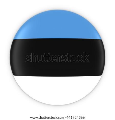 Estonian Flag Button - Flag of Estonia Badge 3D Illustration - stock photo