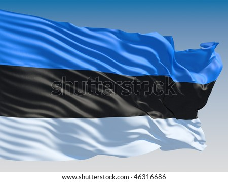 Estonian flag flying on clear sky background. - stock photo