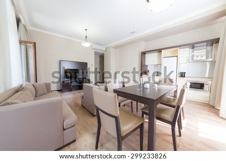 ESTOSADOK, RUSSIA - AUGUST 1,2014: drawing room of appartment in Gorky Gorod Apartments - stock photo