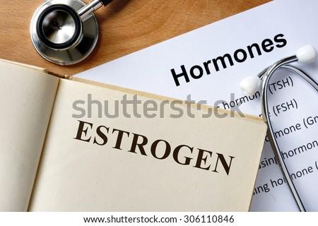 Estrogen  word written on the book and hormones list. - stock photo
