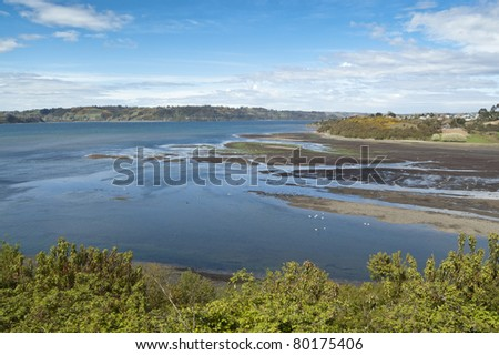 Estuary in Castro. Castro is the capital of Chiloe Province, in the Los Lagos Region, Chile