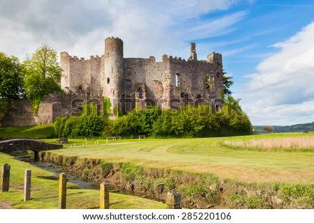 Estuary of the River  with Laugharne Castle  in the background Carmarthenshire, Wales UK Europe - stock photo