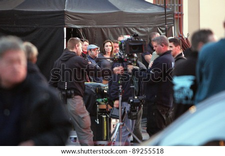 "ESZTERGOM, HUNGARY - NOVEMBER 13: Angelina Jolie directs a night shoot on the set of directorial debut ""In The Land Of Blood And Honey"" which is filming in Budapest, Hungary on November 13, 2010."