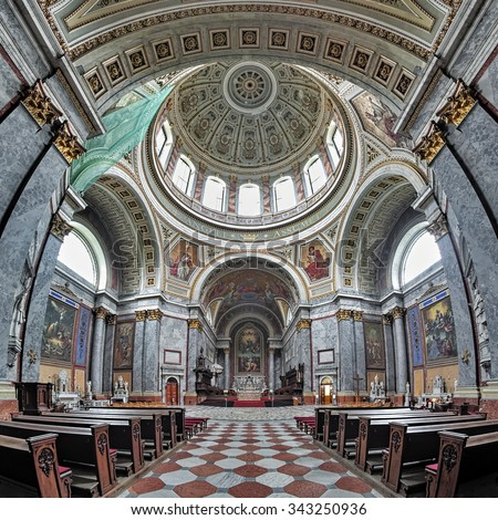 ESZTERGOM, HUNGARY - OCTOBER 7, 2015: Interior of the Esztergom Basilica. The Esztergom Basilica is the mother church of the Archdiocese of Esztergom-Budapest and is the biggest building in country. - stock photo