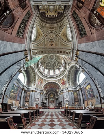 ESZTERGOM, HUNGARY - OCTOBER 7, 2015: Vertical panorama of the interior of Esztergom Basilica. The Esztergom Basilica is the mother Catholic church of Hungary and the biggest building in the country.