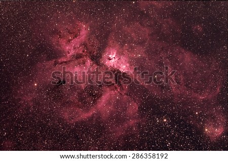 Eta Carinae Nebula with Galaxy, stars and space dust in the universe long expose. - stock photo