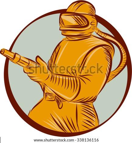 Etching engraving handmade style illustration of a sandblaster worker holding sandblasting hose wearing helmet visor viewed from front set inside circle on isolated background.  - stock photo