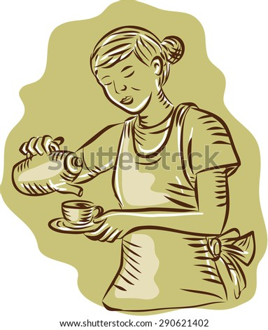 Etching engraving handmade style illustration of a waitress holding teapot and cup pouring tea vintage style on isolated background.  - stock photo