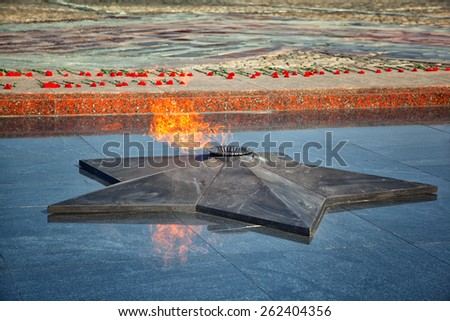 Eternal Flame - symbol of victory in the Second World War on Poklonnaya Hill in Moscow - stock photo