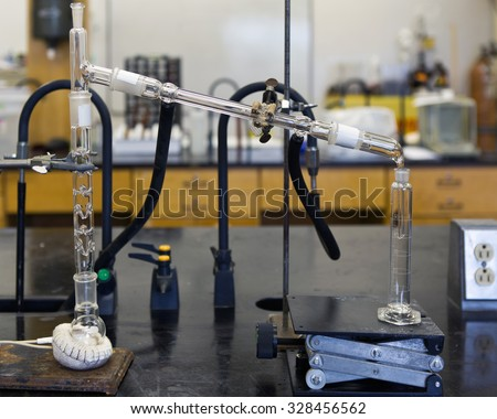 Ethanol chemical distillation with heating mantle. - stock photo
