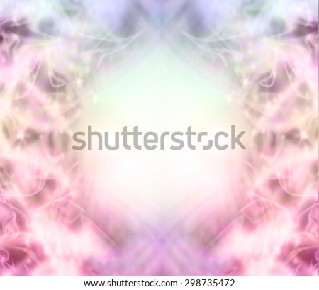 Ethereal magical fairy like background -  pink flossy wispy background with a central light area surrounded by random sparkles, pastel colors and random patterns - stock photo