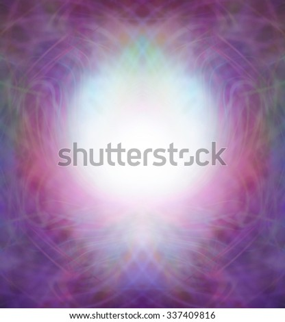 Ethereal Symmetrical Energy Field Border - pink and purple intricate swirling lines flowing to form a border with a central bubble of light in a brandy glass shaped central panel  - stock photo