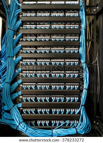 Ethernet cables and path panel - stock photo