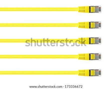 Ethernet cables isolated against a plain background - stock photo