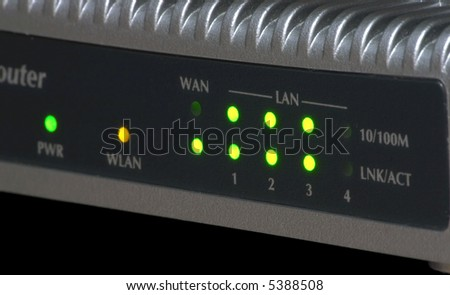 Ethernet 10/100 Mbps WiFi router control panel - stock photo