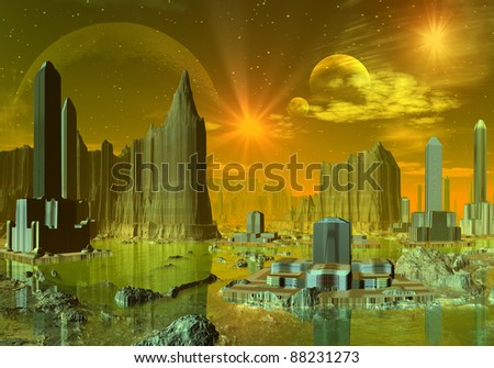 Ethernia, alien town with modern buildings with water, mountains, moons and stars at the background