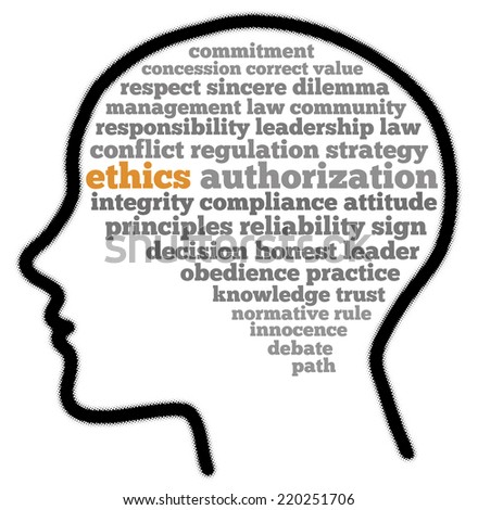 Ethics in words cloud - stock photo