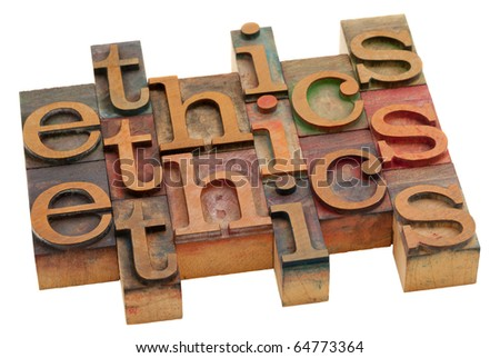 ethics word abstract - vintage wooden letterpress printing blocks isolated on white