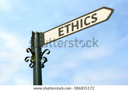 ETHICS WORD ON ROADSIGN - stock photo